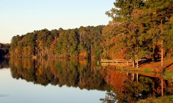 Photo: dock on lake in fall.
